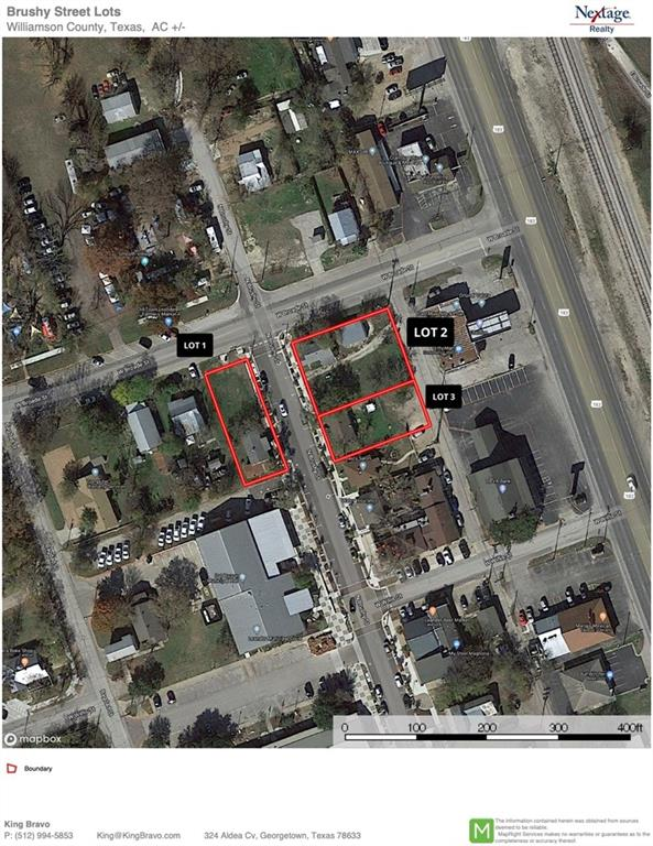 3 Addresses on N Brushy St in the heart of downtown Leander being sold together.  2 properties have hard corners on Broade and N Brushy.  All 3 properties are currently income producing. 203 N Brushy includes Lots 1 and 2 with 8,400 sf of land and 729 sf rental house.  208 N Brushy includes Lots 16 and 17 with 7,500 sf of land and 920 sf rental house.  210 N Brushy includes Lots 18, 19, & 20 with 11,250 sf land and 660 sf rental house.  Brushy St has recently been upgraded and provides many amenities.Restrictions: Yes