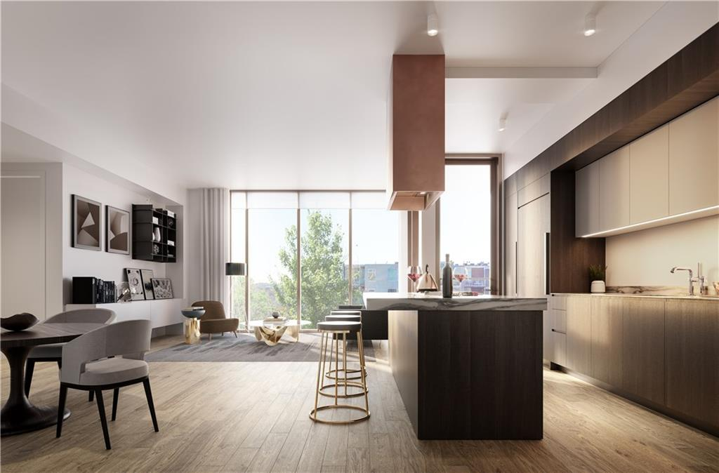 Unit Type D Living Room Rendering. ***Please note renderings are representative in nature only and residence should be fully vetted in person for confirmation of finishes and views.