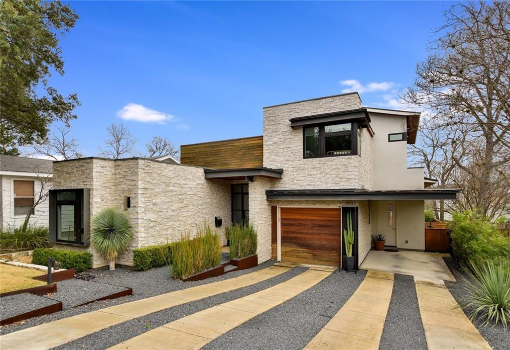 """Newer contemporary in Tarrytown, only minutes from downtown, UT, & Lake Austin. Modern design with a warm feel by Cornerstone Group Architects. Open floor plan w/an abundance of natural light, custom architectural details like the metal staircase w/floating wood beam treads, vaulted ceilings & luxury finishes throughout. Designed & built w/attention to the fine details. Kitchen features 2 built-in ovens, Dacor 36"""" pro-style range. Master & guest bedroom on main level, 2 bedrooms + bonus area up.Restrictions: Yes  Sprinkler Sys:Yes"""