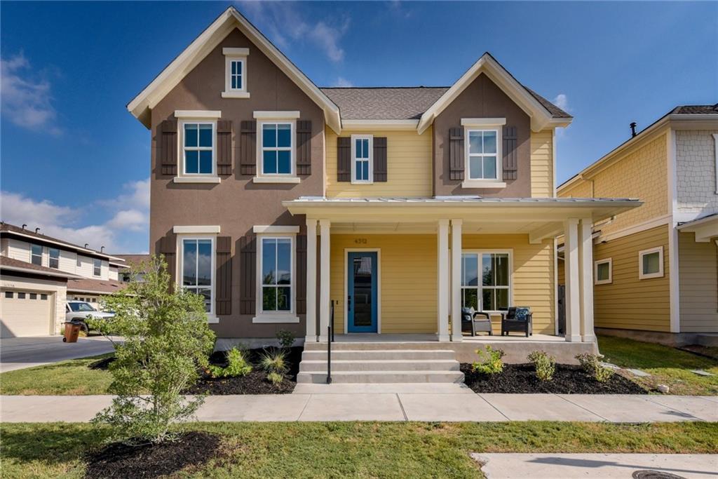 One of the largest plans in Mueller. Bright & highly upgraded on a corner lot. 11-ft ceilings & 8-ft doors. Downstairs are home office, 1/2 bath, bedroom w/ ensuite bath & open dining/kitchen/living areas with views of courtyard & covered patio.  Upstairs are 2 bedrooms, bath, large bonus room, main bedroom retreat w/ private balcony, main bath w/ dual vanities, walk-in shower & dual closets. Right in the middle of Mueller, you will be steps away from parks, pools, shopping & everything you want to do.Restrictions: Yes  Sprinkler Sys:Yes