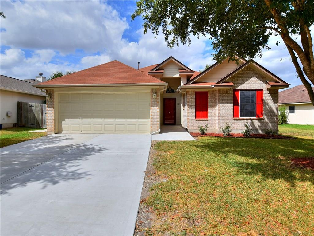Restrictions: Yes Charming single story in great neighborhood w/No HOA! Features include 10' ceilings, recently updated kitchen cabinets, fresh paint, and luxury wood-look vinyl plank flooring throughout. Updated master bath features large tiled walk in shower w/two shower heads. Spacious backyard w/cement deck & wood pergola. Spray foam & Radiant barrier for energy savings. Minutes from Hutto Co-Op, Southside BBQ Market, parks, trails, & downtown Hutto!