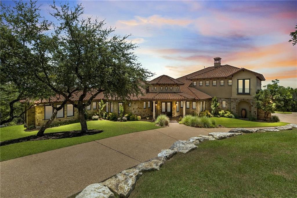 Fabulous Mediterranean Estate with breathtaking 280-degree Lake Travis views from inside & out in your backyard paradise! Live/Entertain in luxury in this showstopper set on a tree-covered 2+ Acre's. A showplace in every way, this light-filled open design offers 2 living spaces+ large theater room & amazing outdoor living. Executive study(4th BD)w/on-suite bath. Massive owner's suite w/spa-like bath & French doors to the back patio & gym. Relax out by the gorgeous heated pool/spa overlooking the Lake!Restrictions: Yes  Sprinkler Sys:Yes