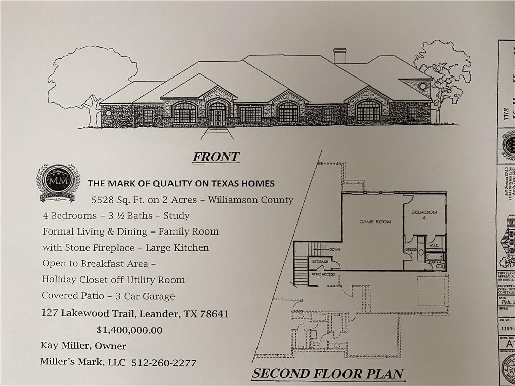 New construction- 5528 square feet 1 & 1/2 story home with 3 car attached garage.  This stunning new home will be situated on a beautiful 2 acre lot with some trees. Buyer can select finishes within budget personalizing their home. If you become a member of HOA, you have access to a private park with fishing lake. Property eligible for horses, barns, shop, and extra garages ,ect. Wonderful country living, yet minutes from shopping, restaurants, Cedar Park Center and easy access to toll road.Restrictions: Yes