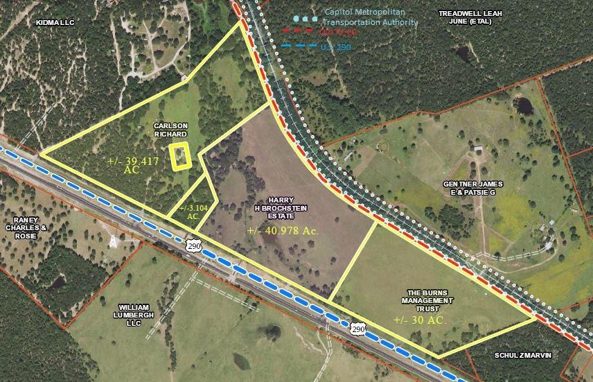 Amazing 40+ acre property with ZERO restrictions & HUGE potential for residential and commercial opportunities! This unique property is ready for development & features a gorgeous tank, moderate trees and flat land. Located less than 40 min from Austin and 1 mile from HWY 290/HWY 21 junction, makes this property perfect for consumer freight services to ship directly to College Station, San Antonio & Houston! Two sides of road frontage off HWY 290 and off Old HWY 20. Railroad switch was recently installed.