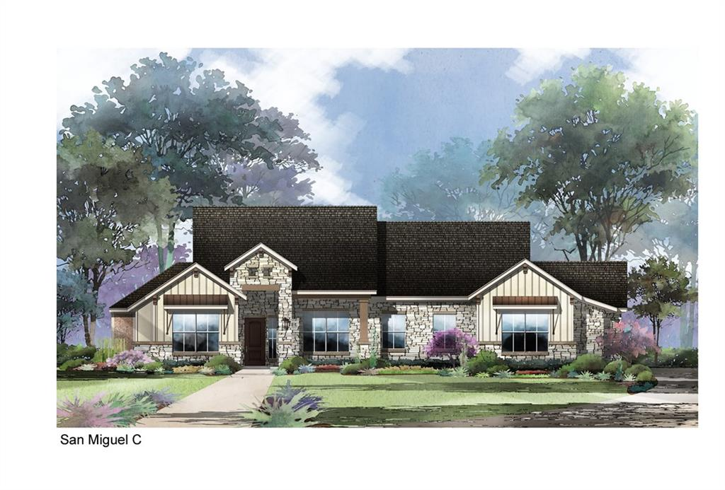 Estimated completion completion Spring 2021. Hill country views from your back porch. All secondary beds can fit queen bedroom suite. Jack and Jill beds and a private guest suite w/ private porch entry. Farmhouse contemporary finishes and exterior. Cedar wrapped beams in dining, 12ft ceiling in living. 24x13 covered patio, 3 car garage, freestanding tub in master, quartz countertop throughout. Wood flooring in main living areas. 15 x 18 master bedroom w/ 10x15 WIC.White cabinets in kitchen w/ blue island.Guest Accommodations: Yes Restrictions: Yes