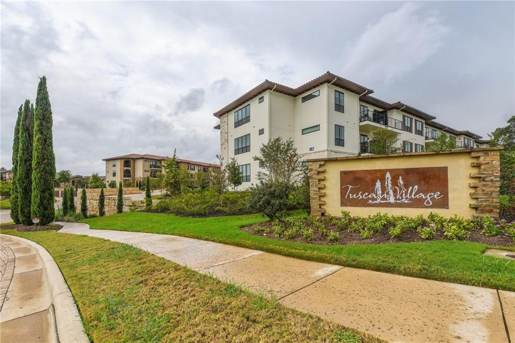 Wonderful Lock & Leave Lifestyle in Desired Lakeway Tuscan Village! This like NEW, 2017 55+ community includes a park w/walking trails, indoor/outdoor pool, fitness center, activities director, & more! W/stunning Hill Country views from the balcony, this home is sure to please as it showcases a light-filled floorplan w/wood floors throughout, 10' ceilings & 8' doors, & an open chef's kitchen that boasts a lg granite island & SS Bosch appls. Elevator, temp-controlled storage, & underground secure parking!FEMA - Unknown Restrictions: Yes