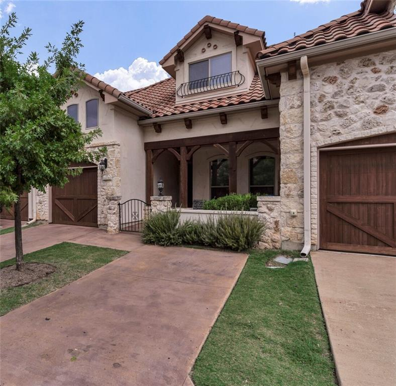 This lovely two-story town home located in the gated community of The Enclave  boasts a Tuscan design with stone & stucco exterior and tile roof.  This well designed unit offers an open floor plan with soaring ceilings, wood floors, crown molding, modern finishes, and numerous upgrades.   Upstairs is a large 3rd bedroom and bath as well as a loft that can serve many purposes.Restrictions: Yes