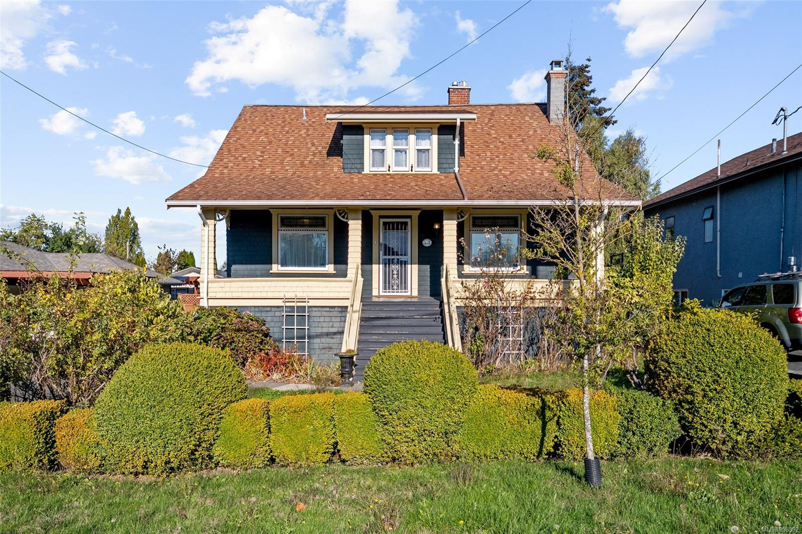Welcome to 332 Obed Avenue, a 3 bedroom, 2 bathroom character home located in one of Victoria's favourite neighbourhoods! This 1913 house has been immaculately maintained, with stained glass windows, period trim throughout, 10' ceilings, newer windows throughout, and hardwood floors. The main level includes a cozy family room with a gas fireplace, 2 bedrooms with large closets, an updated 4pc bathroom, bright kitchen with plenty of storage, and a spacious dining room. The upstairs offers a private and expansive master suite, complete with a bright 3pc en-suite and his-and-hers closets. The lower level includes laundry & plenty of room for extra storage. You'll find a private and fenced backyard, easy to maintain and complete with a green house. The yard is capped off with a storage shed, perfect for all of your gardening tools. Plenty of parking, a gorgeous front porch, and located within steps of amenities, transit, and the Gorge Waterway, this home is an absolute must-see gem!