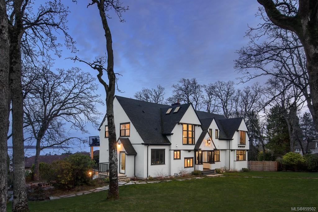 Exceptional quality, thoughtful design & superb finishings are just a few of the features of this fully renovated home. Done by award winning builder, this traditional home showcases the sharp lines of the 1930's homes that are so often mimicked. Gorgeous views of the Victoria Royal Yacht Club, Cadboro Bay, Ten Mile point and the islands. Main level boasts rich HW floors, beautiful wood beams, a stunning gourmet kitchen w/ stone countertops, open concept great room with beautiful brick gas FP, family room & very spacious office/study. Access the oversized decks which allow you to enjoy your expansive views. Upper floor features 4 bed (all with their own en-suites), each w/ massive vaulted ceilings & picturesque views. The lower level has a large rec room w/pool table, home theatre complete with custom seating, wine cellar and totally separate in-law suite w/ kitchen. Walking distance to Cadboro Bay Village & Beach, Uplands golf course, UVIC & dog park. Location, location, location!