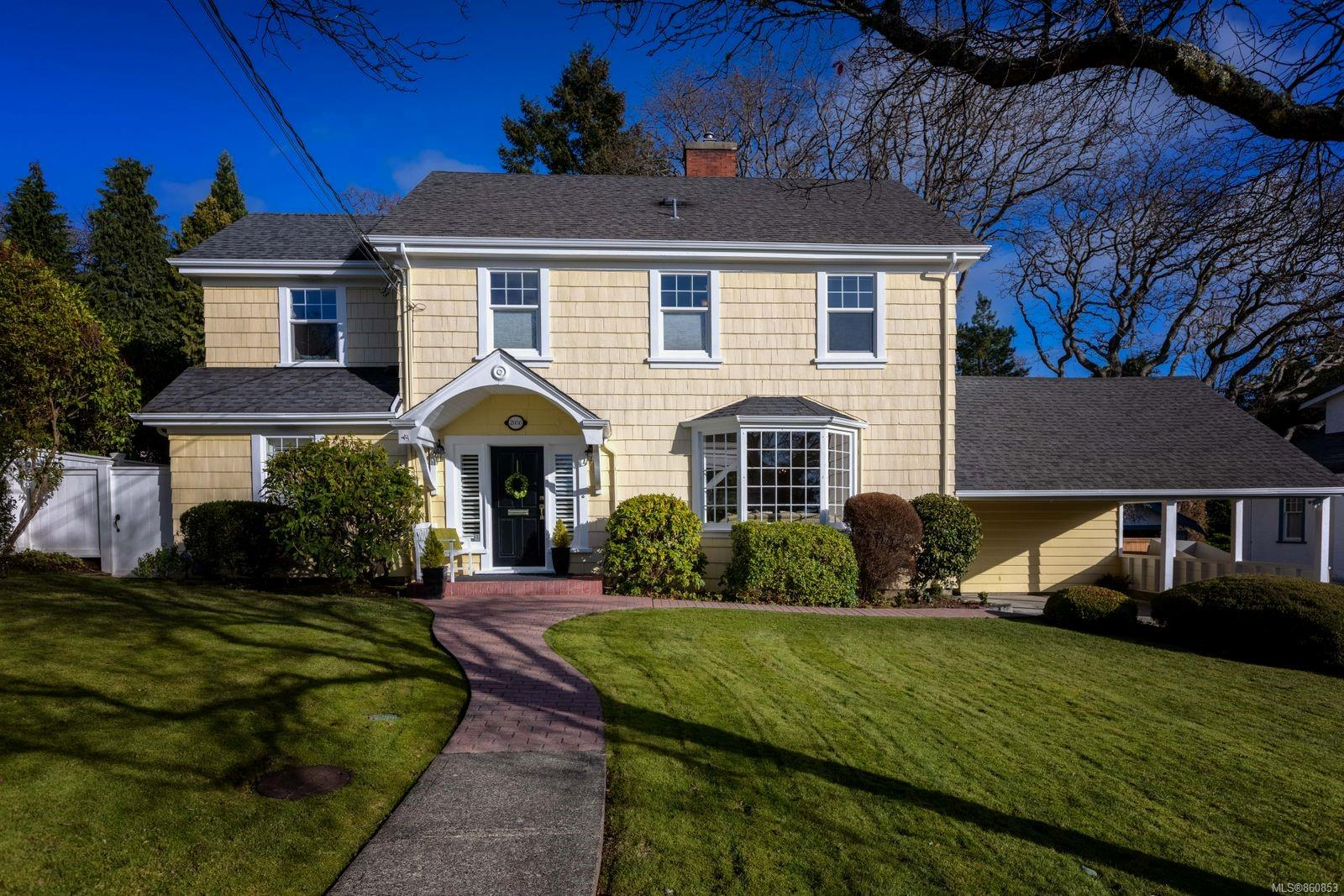"""Pleased to offer this elegant quintessential Oak Bay family home. Bordering prestigious Uplands & situated on a flat 9600 sq/ft lot, be impressed w/the pride of ownership shown in restoring this beautiful estate. Boasting an updated kitchen w/shaker custom cabinetry, granite counters, Wolf dual-fuel range & breakfast bar. A lovely Living Room w/crown moldings, custom crafted mantle & a gas fireplace, perfect for cozy evenings! While a large family room/home office w/a 3rd bath finishes off the main. Up one level find the Master w/Ensuite, 2 more Beds & 3rd Bath. The top floor presents options; use as a rec/media room & Den or 4th Bed for the teenager or your nanny! The basement has been finished to include a home gym, hobby room & workshop! The fenced rear yard boats a brand new executive """"she shed,"""" while a large patio is located directly off the kitchen. Lots of parking & storage, mins to Estevan Village, Willows Beach & School, Uplands Park & UVIC. Truly a special property!"""