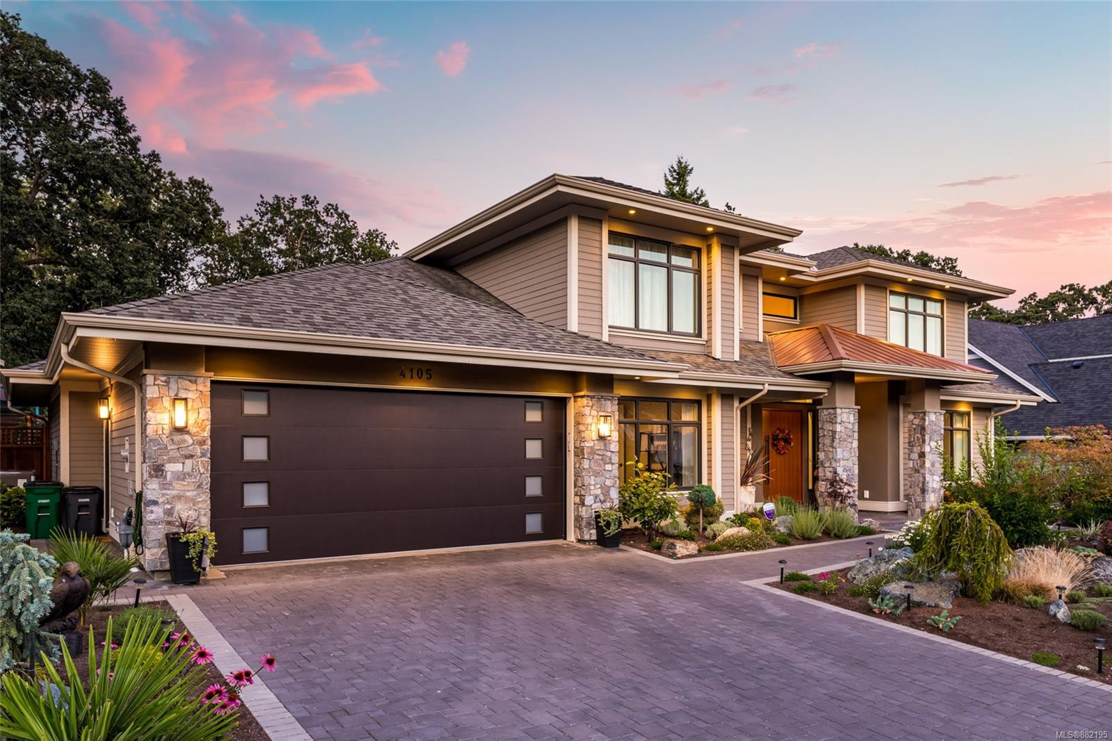 Completed in 2018 by award-winning Pacific Concept Developments, this finely crafted, custom-built home offers 4 bedrooms & 4 bathrooms with a thoughtful family-friendly layout. Even the most discerning buyer is sure to appreciate the attention to detail with exceptional finishings and the designer fixtures throughout the approximately 3100 sq ft. The main level features a spectacular entrance, powder room, family room, open concept living & dining room with high ceilings, an office/bedroom, a laundry room & a beautiful chef's kitchen. The bright master suite has a spacious walk-in closet and a gorgeous 5-piece Ensuite & a fireplace. The upper level features 2 more bedrooms, a 4-piece bath with a skylight&  a 3-piece bath. The fully fenced backyard offers privacy & low-maintenance landscaping including two walkout patios, a pergola, built-in BBQ & irrigation. Located in a beautiful new subdivision, Mount Douglas Estates, close to parks, shopping & just outside downtown Victoria.