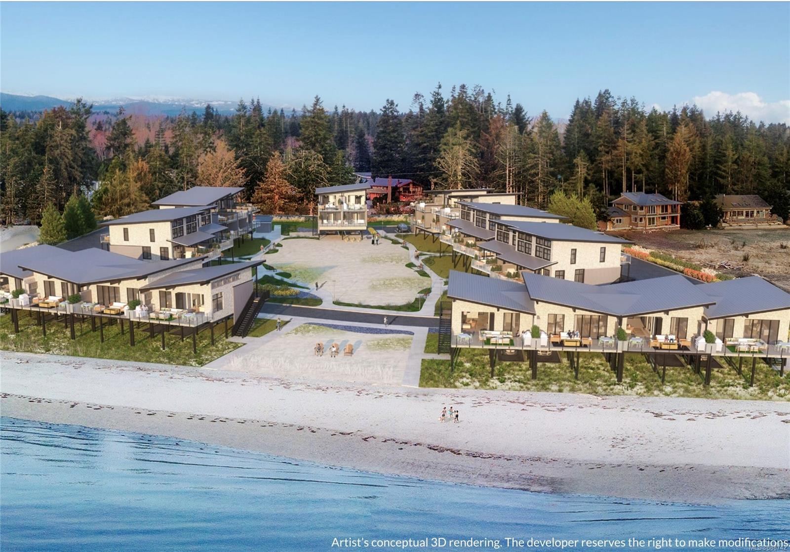 Presale assignment opportunity in sold out Beach House at Saratoga. Vancouver Island's fastest selling waterfront community. The Beach House is a rare collection of only 30 luxury built Beach Homes, located on over 3 acres of walk on waterfront on the white sands of Saratoga Beach in the Comox Valley. Unit A 6 is a 1067 sqft, 2 bedroom, 2.5 bath home with southern exposure & stunning views from the master suites located on the top floor up the north coast to the coastal mountain range. The main floor offers ocean views from the large patio off the living room and is steps to the beach. Deluxe finishes throughout include, Air Conditioning, Frigidaire Professional Series Stainless Appliances with gas ranges, gas fireplaces with custom tile surround, spa inspired baths,  quartz counter tops, outdoor showers for sandy toes and pets and much more.  Full ownership strata community perfect as 2nd home/vacant home & potential to cover cost of ownership re on-site vacation management program.