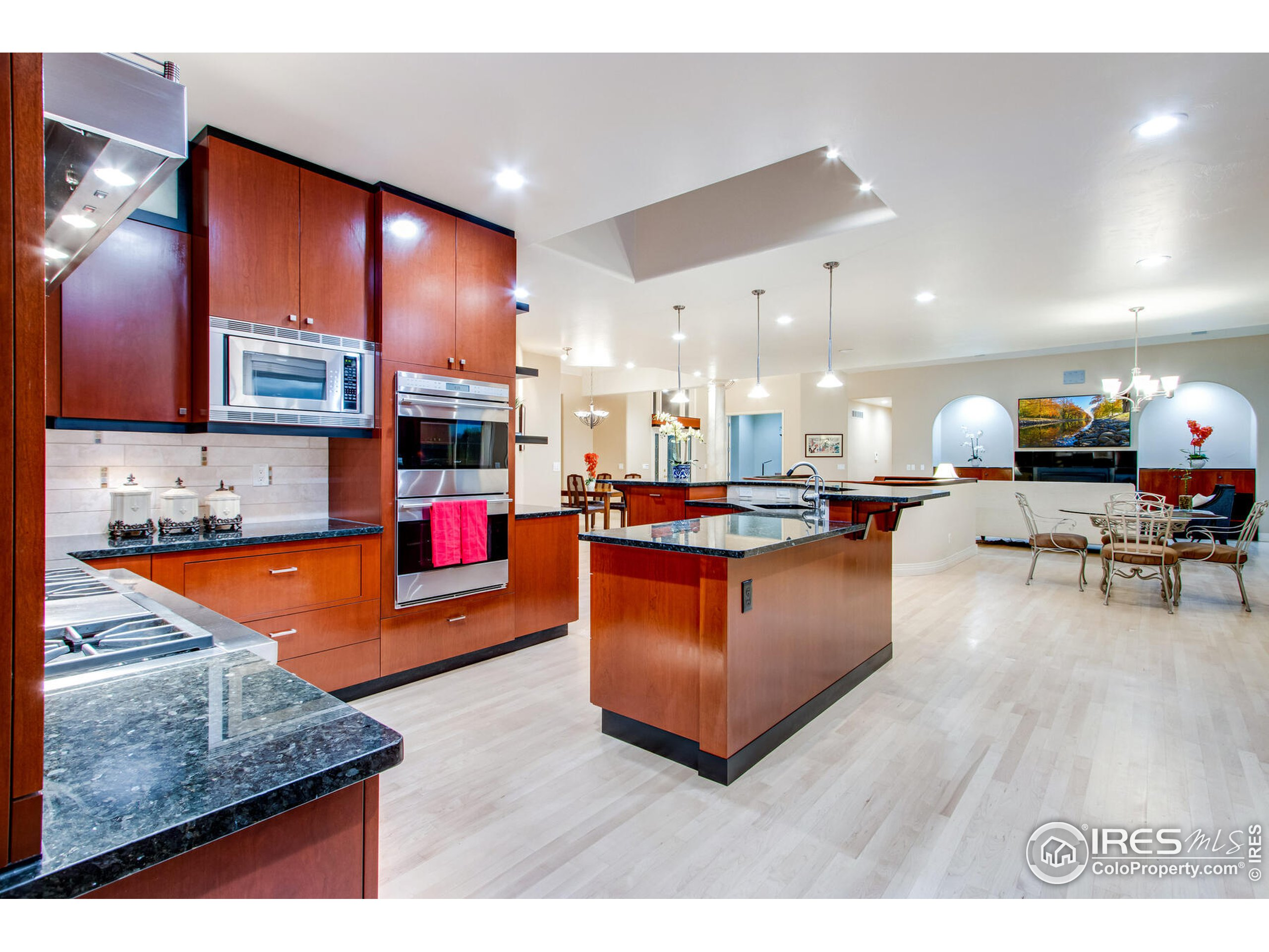 Gourmet Kitchen with Wolf Gas Cooktop, Double Wolf Ovens, Wolf Warming Drawer, Sharp Microwave, Built in Subzero, 2 Dishwashers, Water Purifier, Instant Hot Water Dispenser & more
