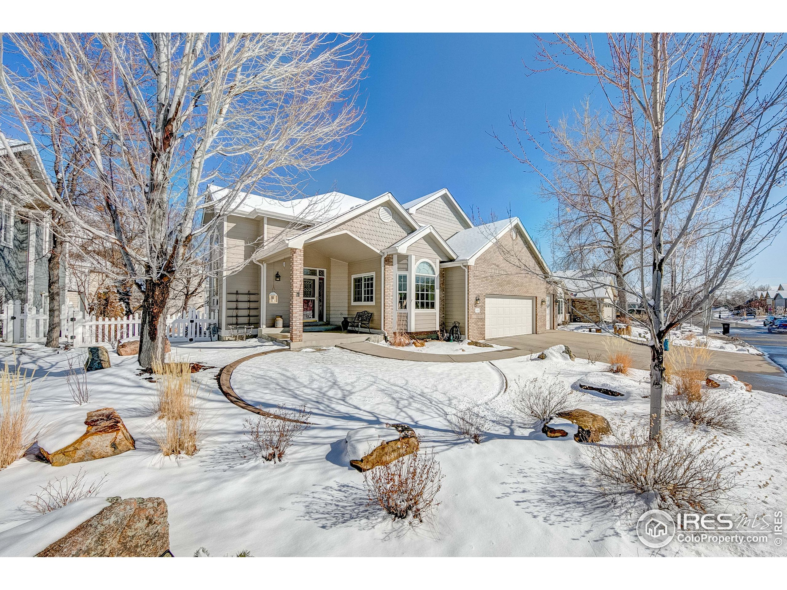 We have to say... this little neighborhood (Mariana Cove) nestled in the southwest corner of Loveland near the foothills and access to Boedecker Lake is a GEM! Enjoy open space right out your front door, walking trails & covented lake access. Main floor owners' suite with private deck, 5 piece master bath and large walk in closet. Light and bright throughout, bringing nature indoors. Soaring ceilings with open staircase to the 2nd level to 3 large bedrooms and 2 baths. The walkout basement is fully finished with an outside entrance to a private office space. Large family room, bar area, bedroom, bathroom and lots of storage. There is room for everything in this extra large 3-car heated garage. Beautifully landscaped front and back yards. Meticulously cared for, pre-inspected for peace of mind.