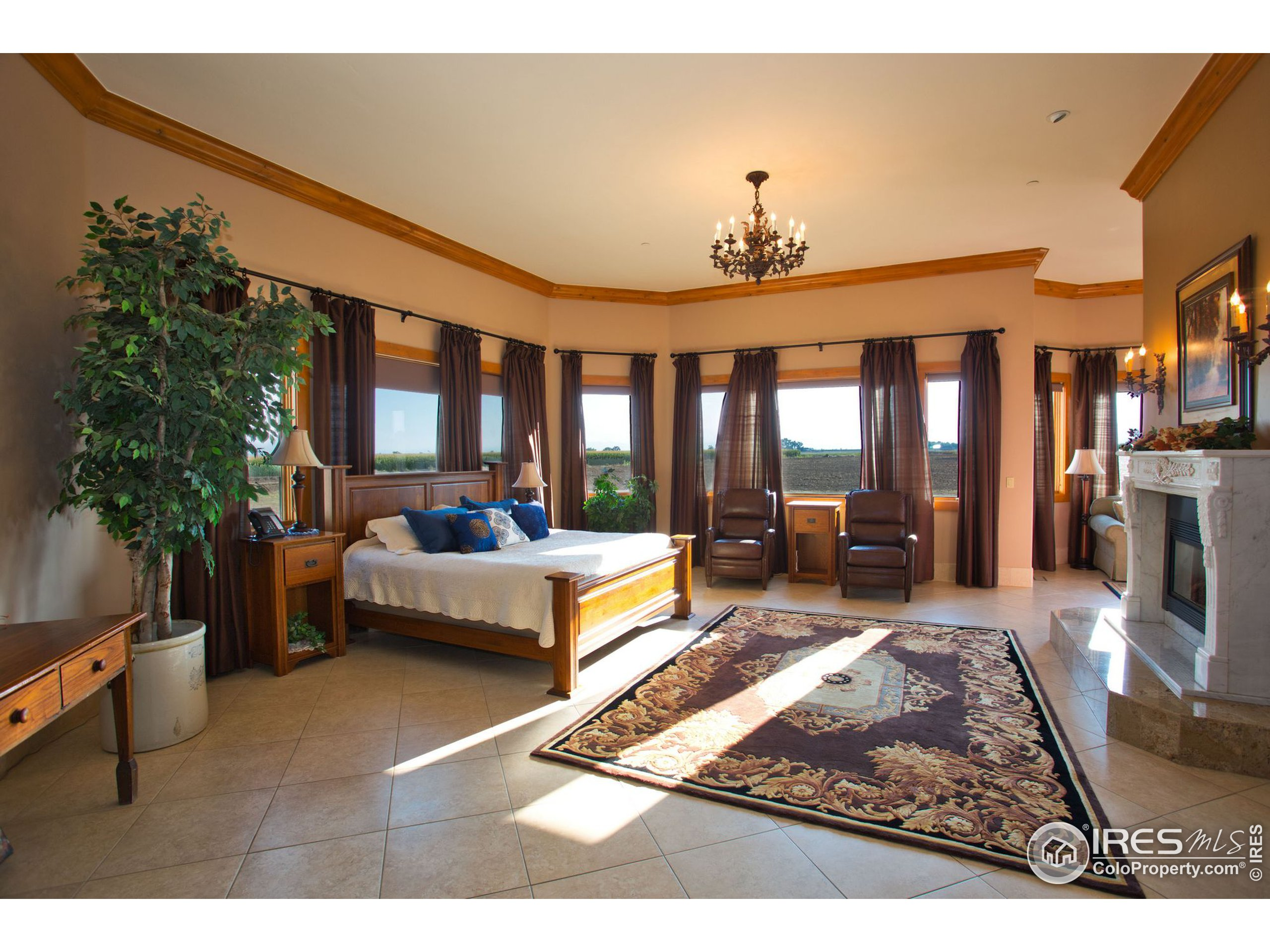 Master bedroom with views, fireplace