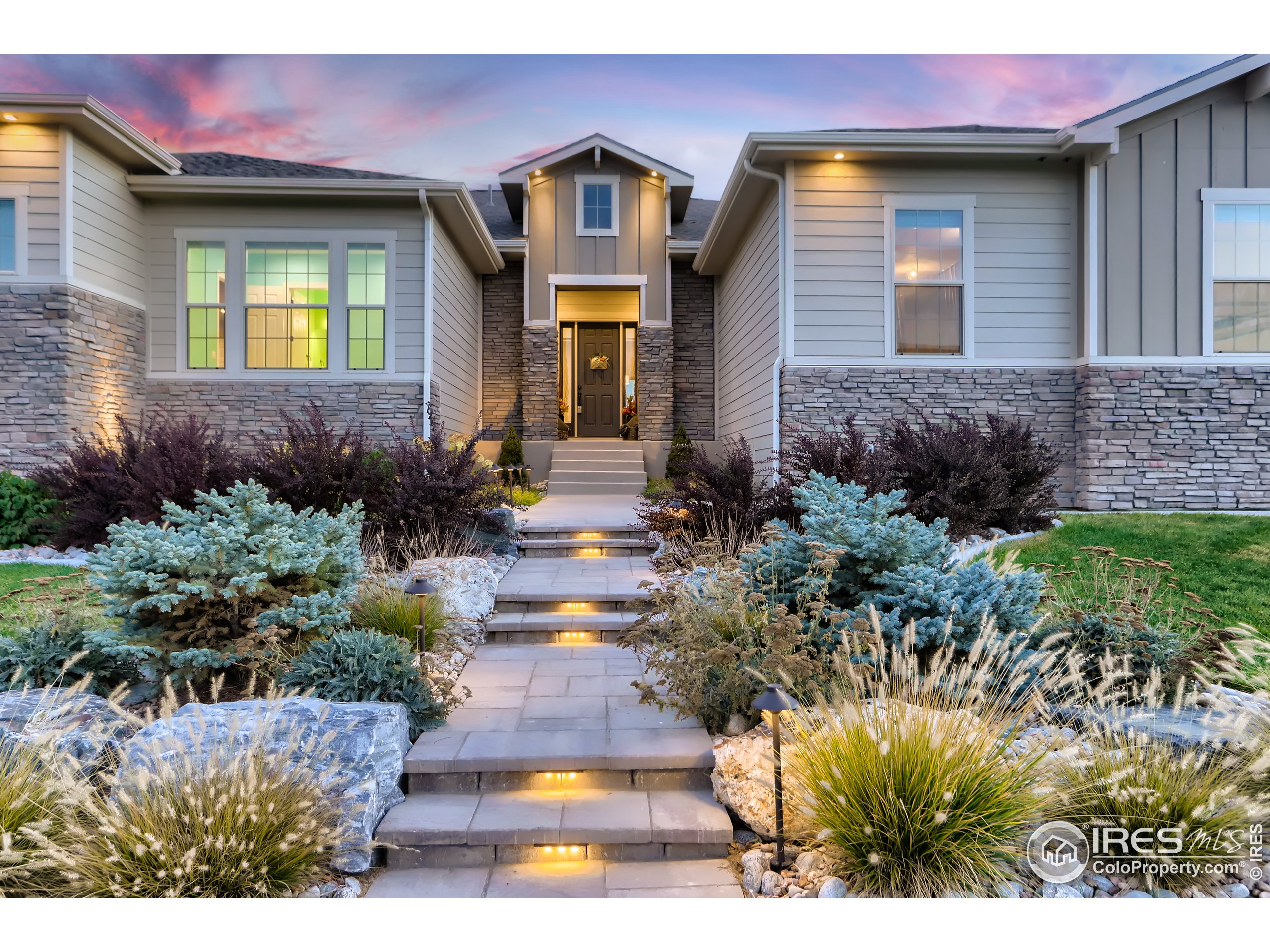 Exquisite Premier Location with Wonderful Unobstructed Views of the Front Range, the Wildlife Protected Fossil Creek Reservoir, and Longs Peak in the Desirable Estates at Kechter Farm. Pleasant Open Floor Plan with Soaring 12' Ceilings, Oversized Windows for Wonderful Natural Light, and Spectacular Views. Spacious Upgraded Kitchen with an Enormous Island, SS Appliances, Quartz Counters & Walk-In Pantry. Grand Primary Bedroom Suite, 5 Piece Bath & Awesome Walk-In Closet w/Built-In Organizer. Two Secondary (En-Suite) Bedrooms. Expansive Study/Family Area, or Possible 4th Bedroom. Wide Plank Wood Floors in the Main Living Areas. Full Unfinished Walkout Basement, w/Engineered Structural Slab Floor for Your Peace of Mind, Ready for Your Finishing Touches. The Expansive .45 Acre (19,611 Sq. Ft.) Lot has Room for You to Enjoy and Play. Many Thoughtful Initial Upgrades of $680K Throughout the Property with an Additional $100K in Beautiful Landscaping, Patios & Firepit and Other Finishes