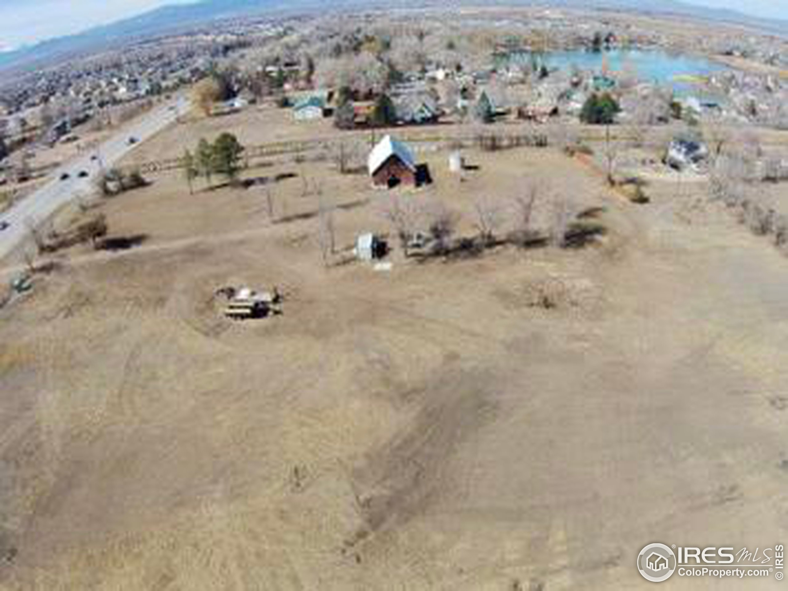 Drone footage view of recently cleared land