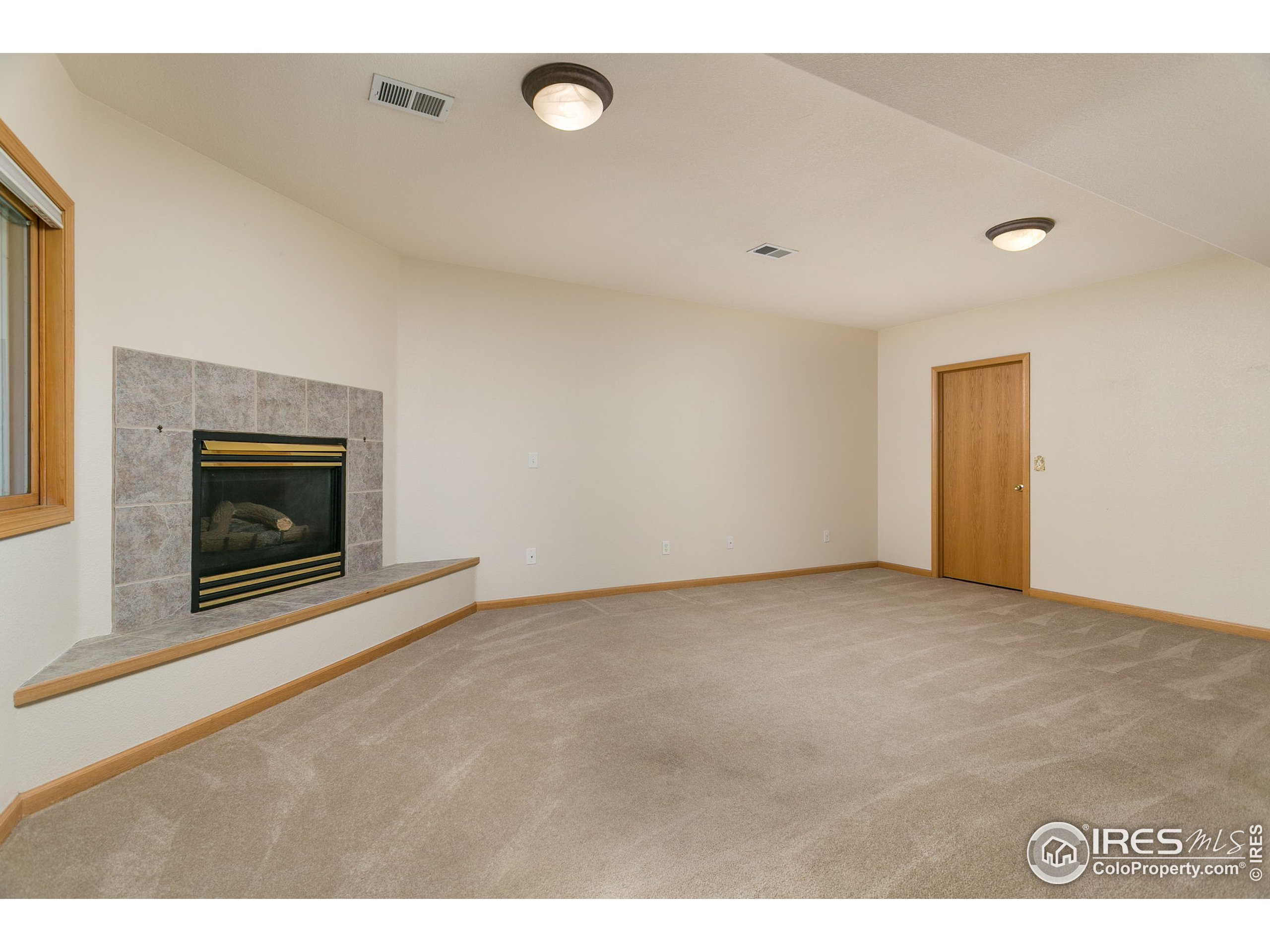 Great room in basement with gas fireplace