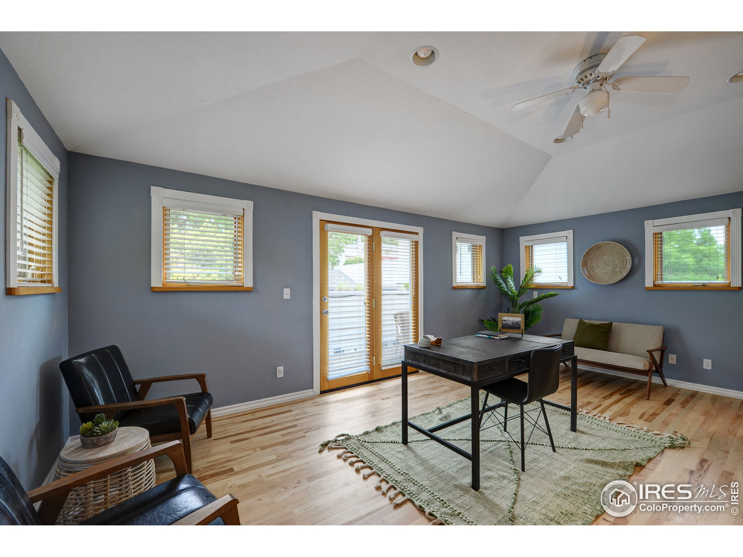 detached private workspace/office and powder room above garage