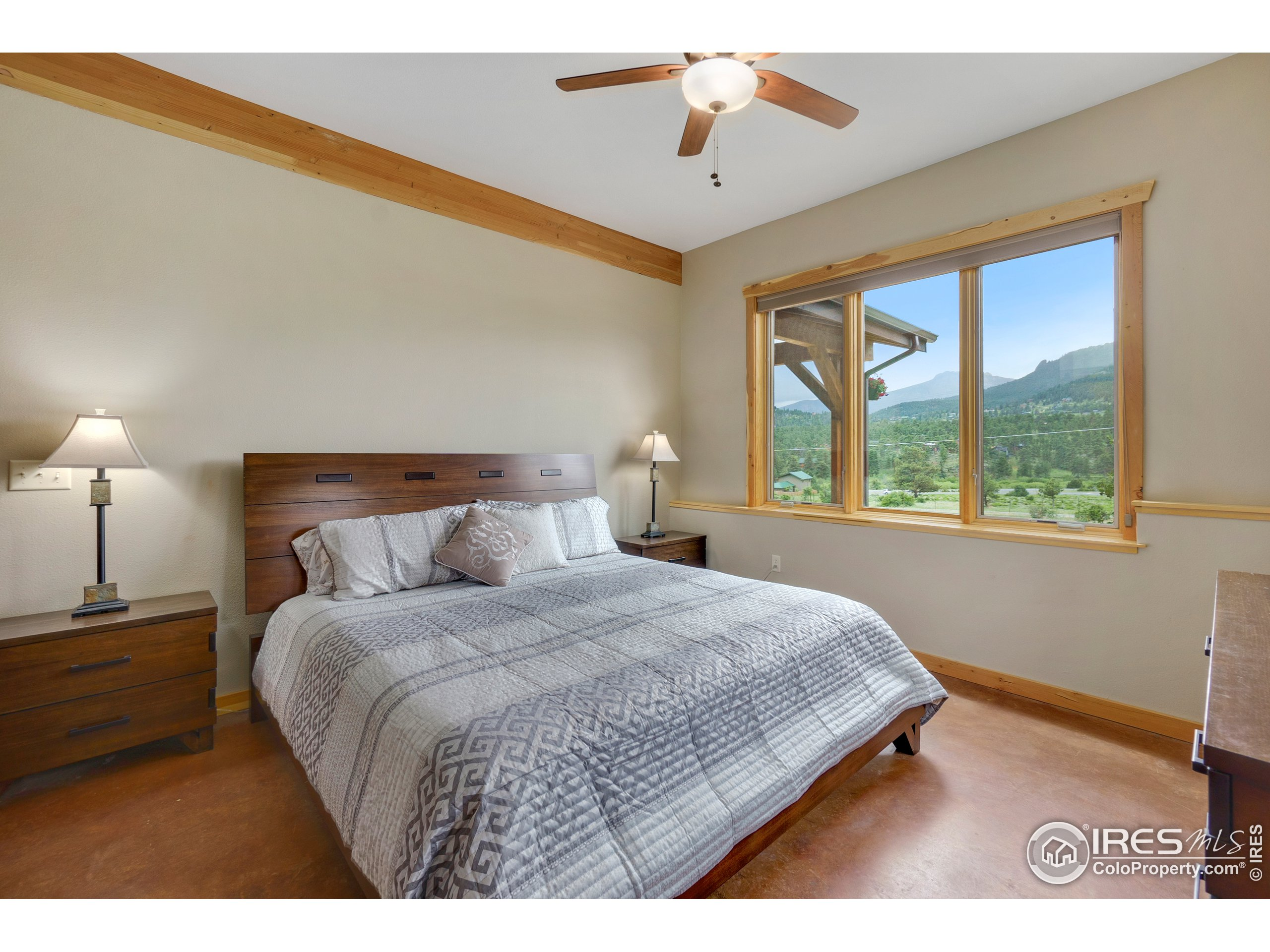 Primary bedroom with views of Longs and Twin Sisters