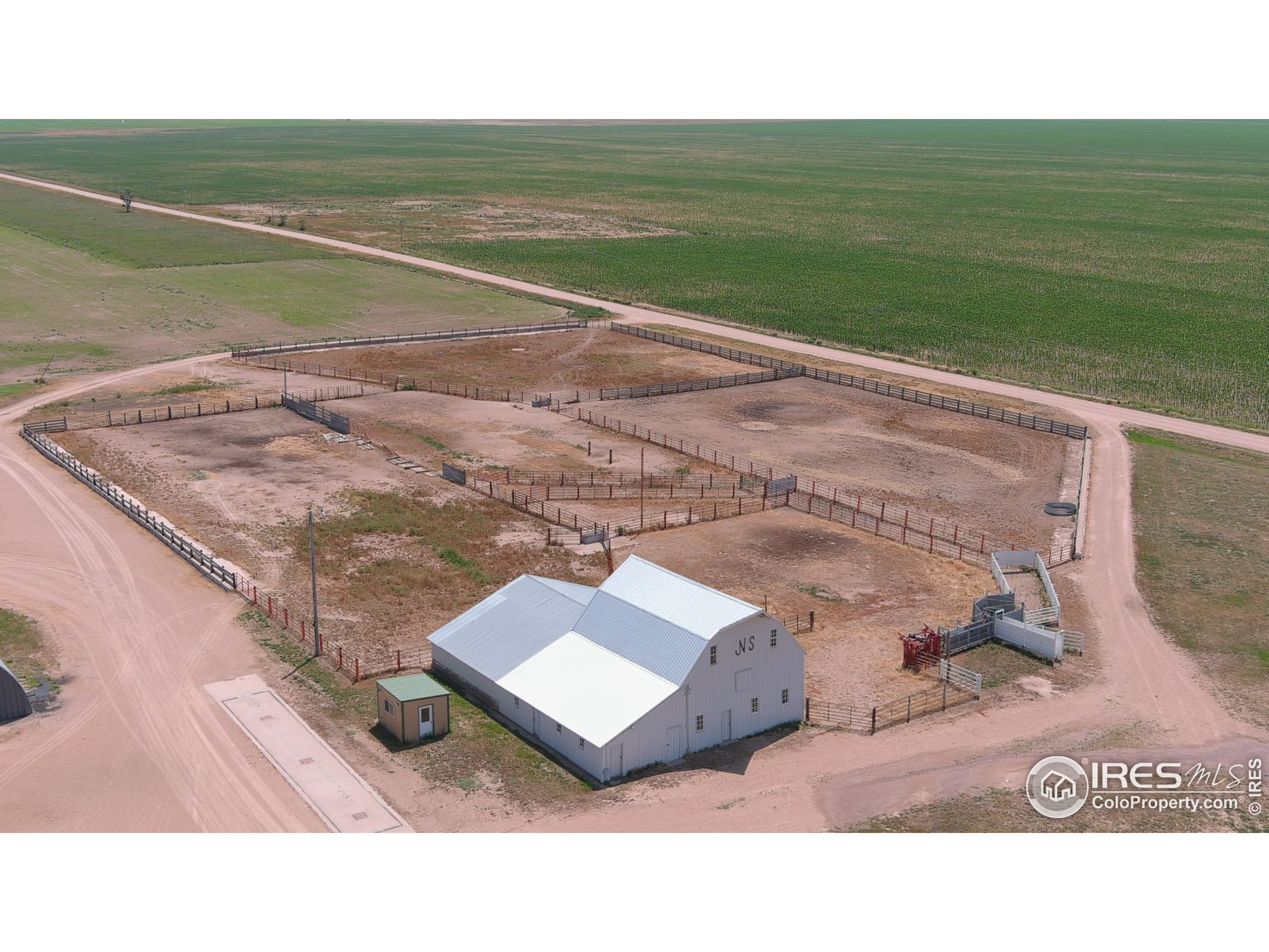 Barn and corrals with feed bunk