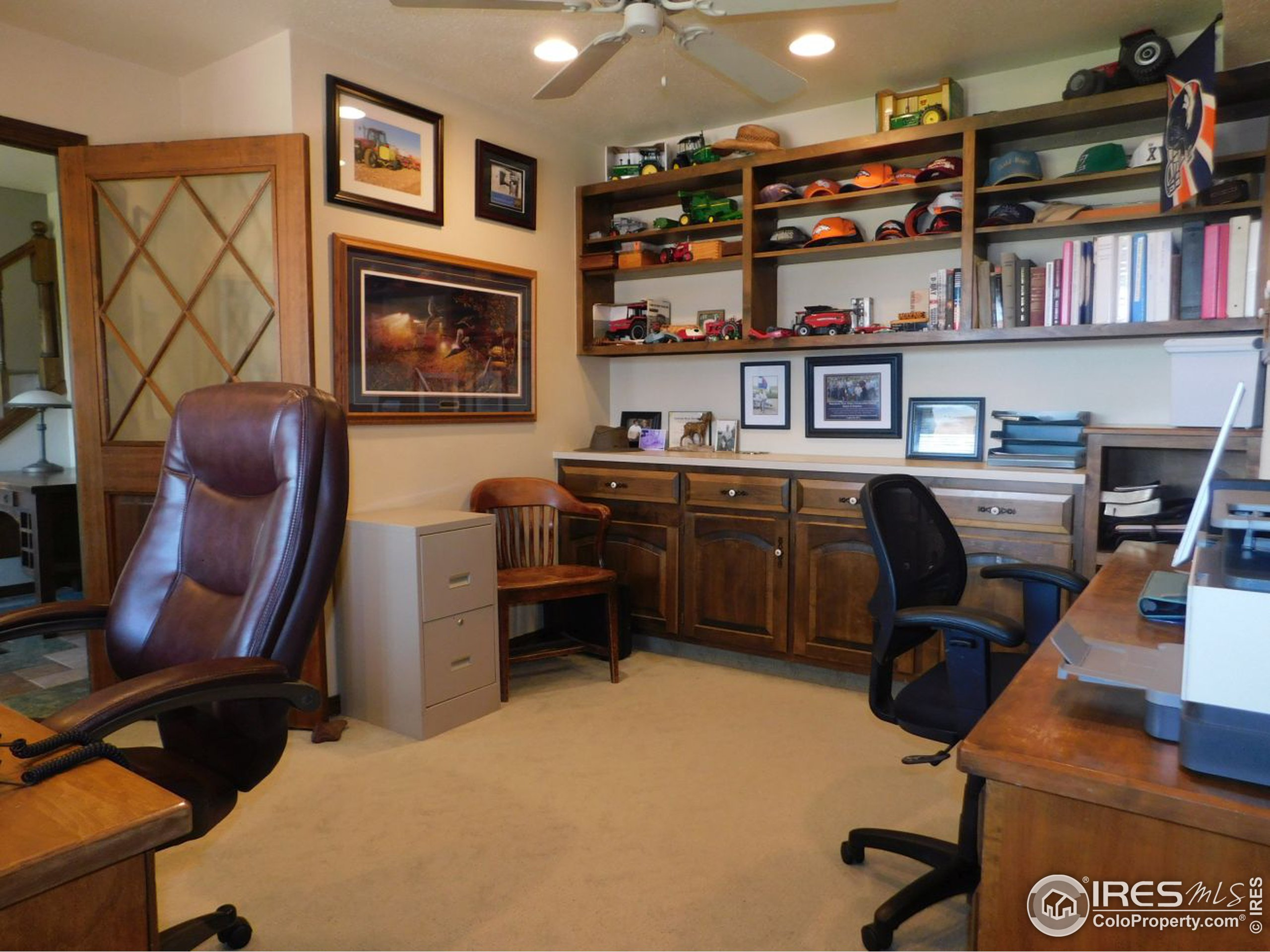 Large office with custom cabinetry