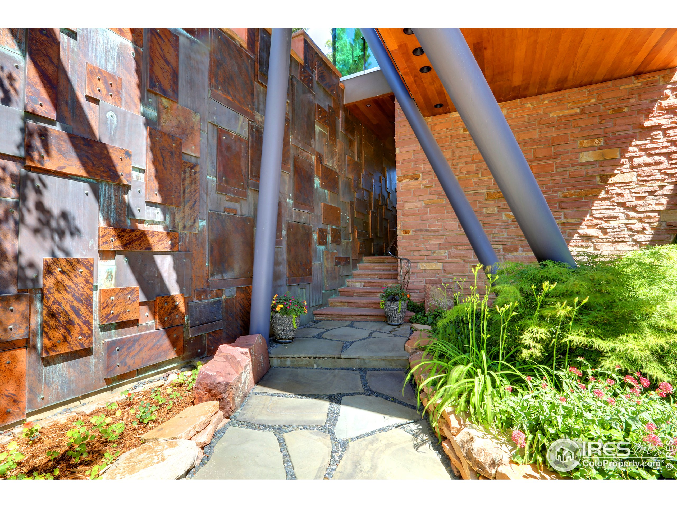 Artfully Crafted Copper Entry Wall with Water Feature
