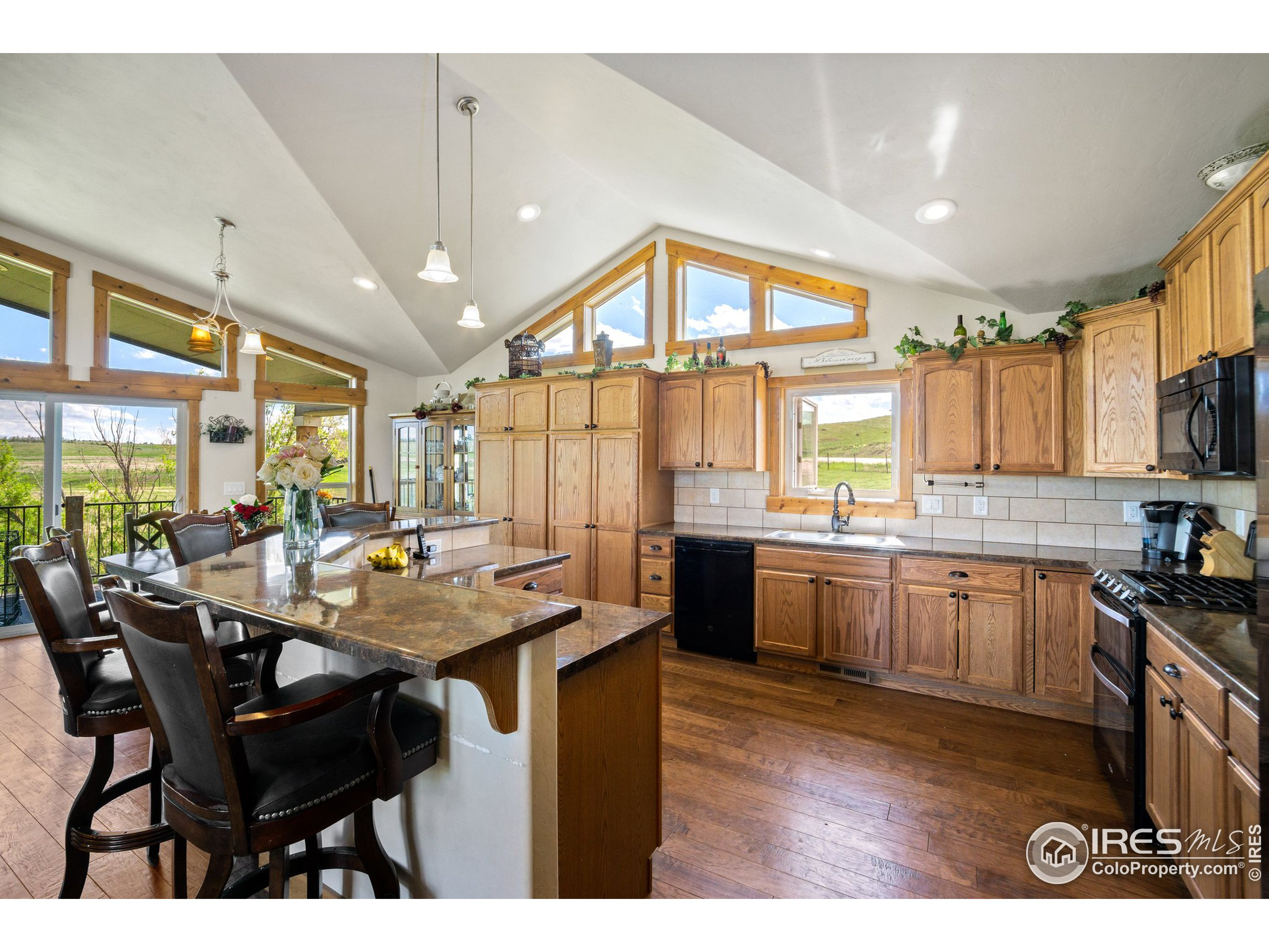 14 x 14 Kitchen / Vaulted Ceilings / Wood Floors / Ample bar Seating