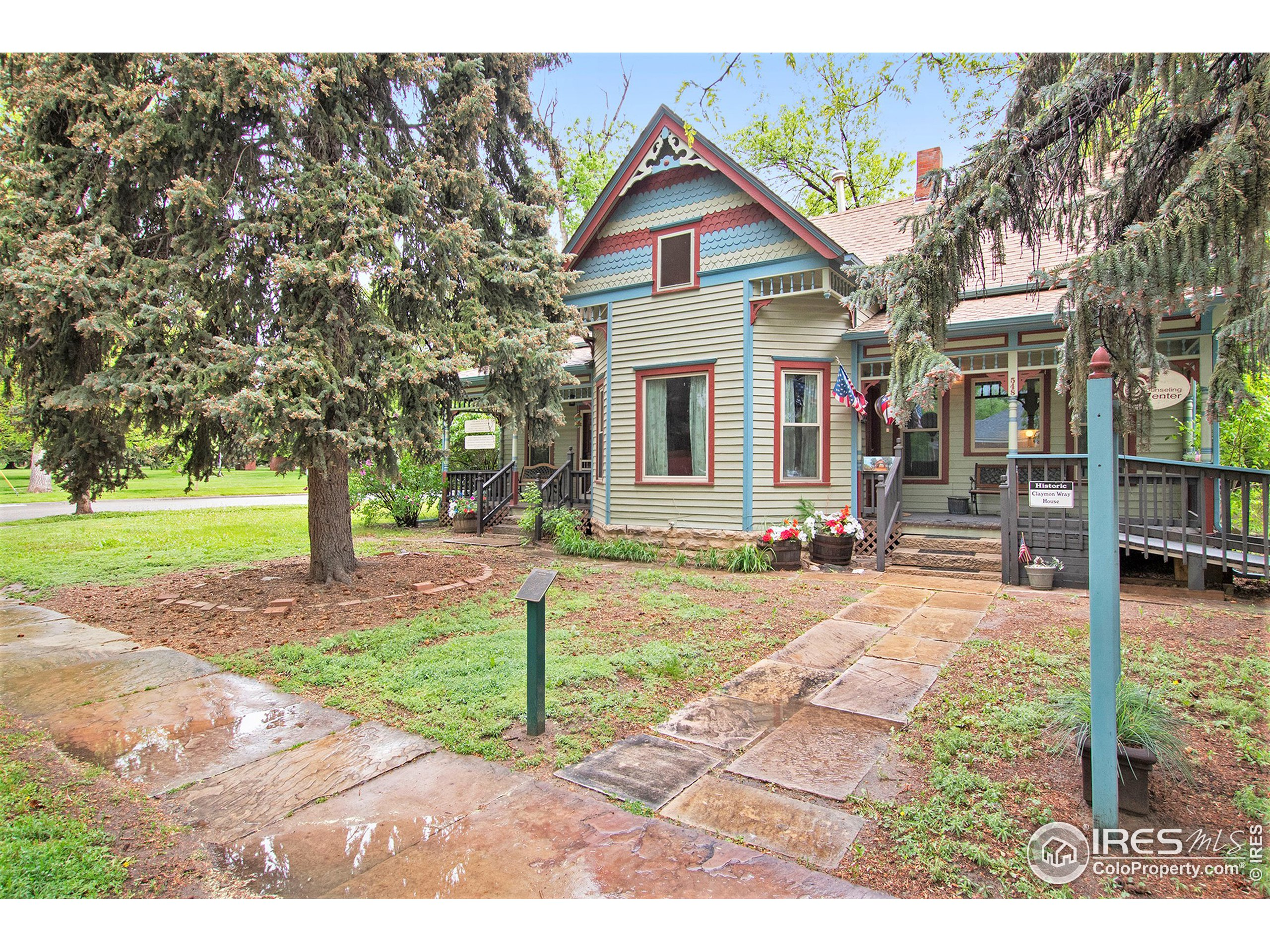This downtown Berthoud  gem located by historical Fickle Park was built in 1903 & is part of the historic society. Perfect for small company with individual offices. NEW Windows, NEW Paint, NEW Steel Exterior Doors, NEW Ceilings, NEW Water Heater, NEW tile in the kitchen. Updated bathrooms. W/D Hookups, Newly grated Parking,  Extremely large corner lot for expansion. Property  for ALLOWS for another building by the shed. LOTS of potential. Small barber shop with 1/2 bath. Furnishings negotiable.