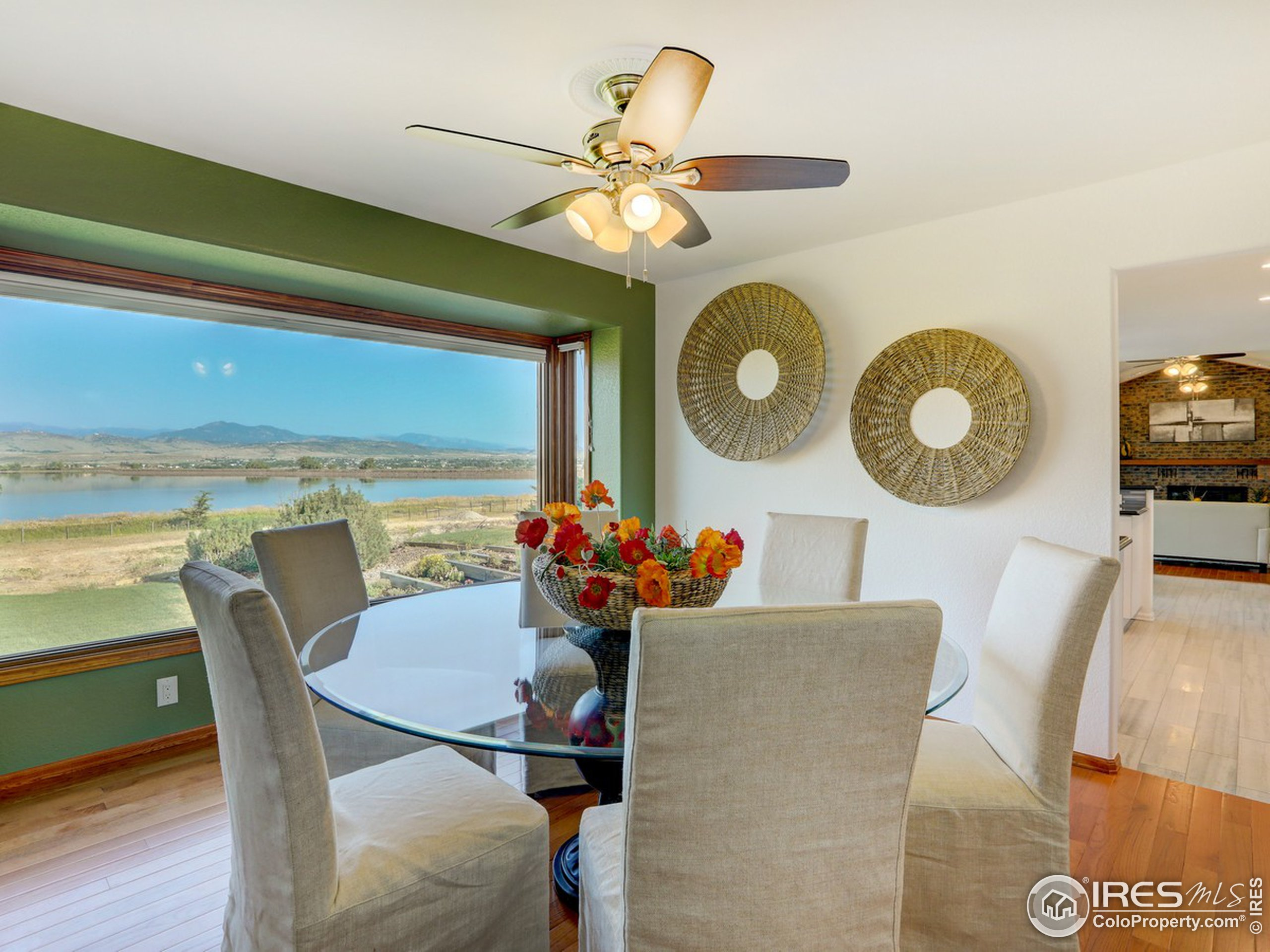 Dining room with expansive views.