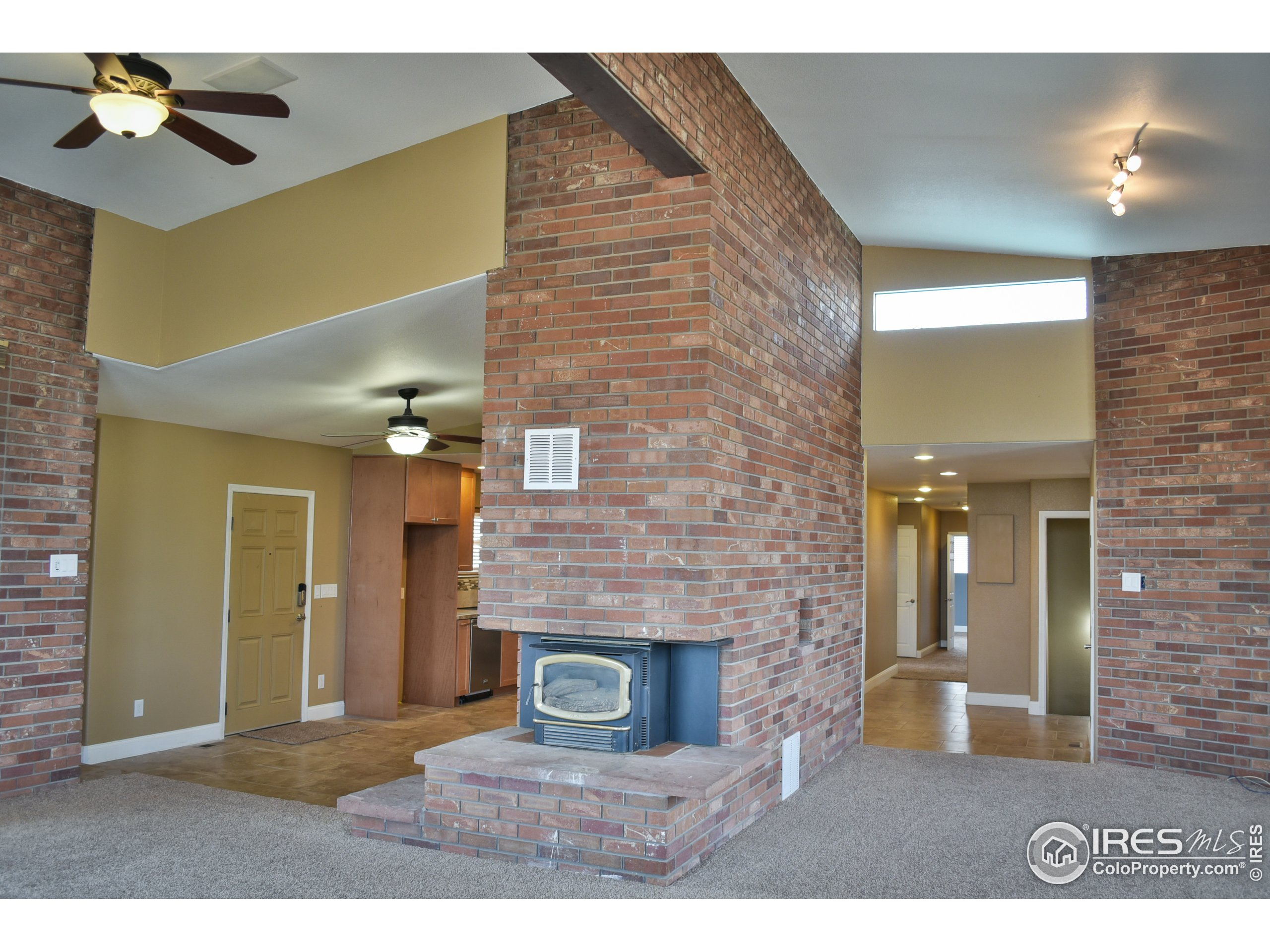 Great Room with 12 foot ceilings at the peak.