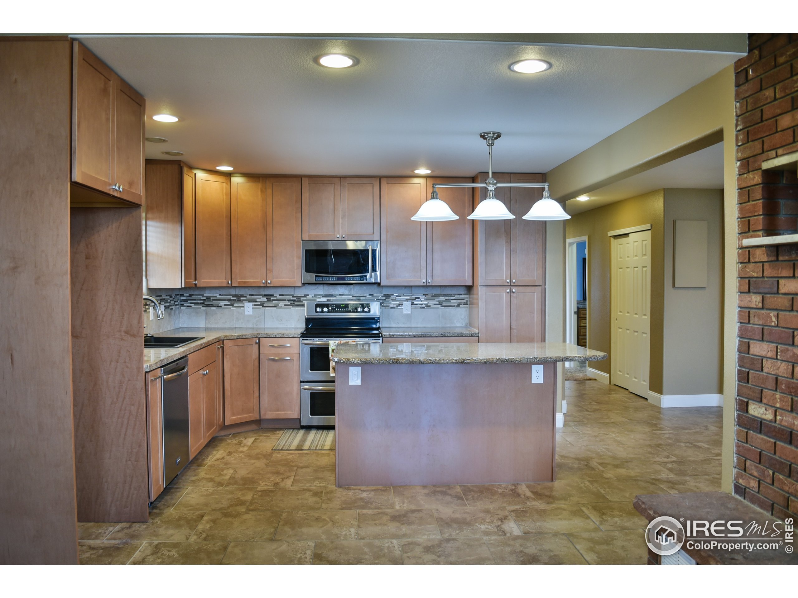 All wood cabinets in Kitchen.