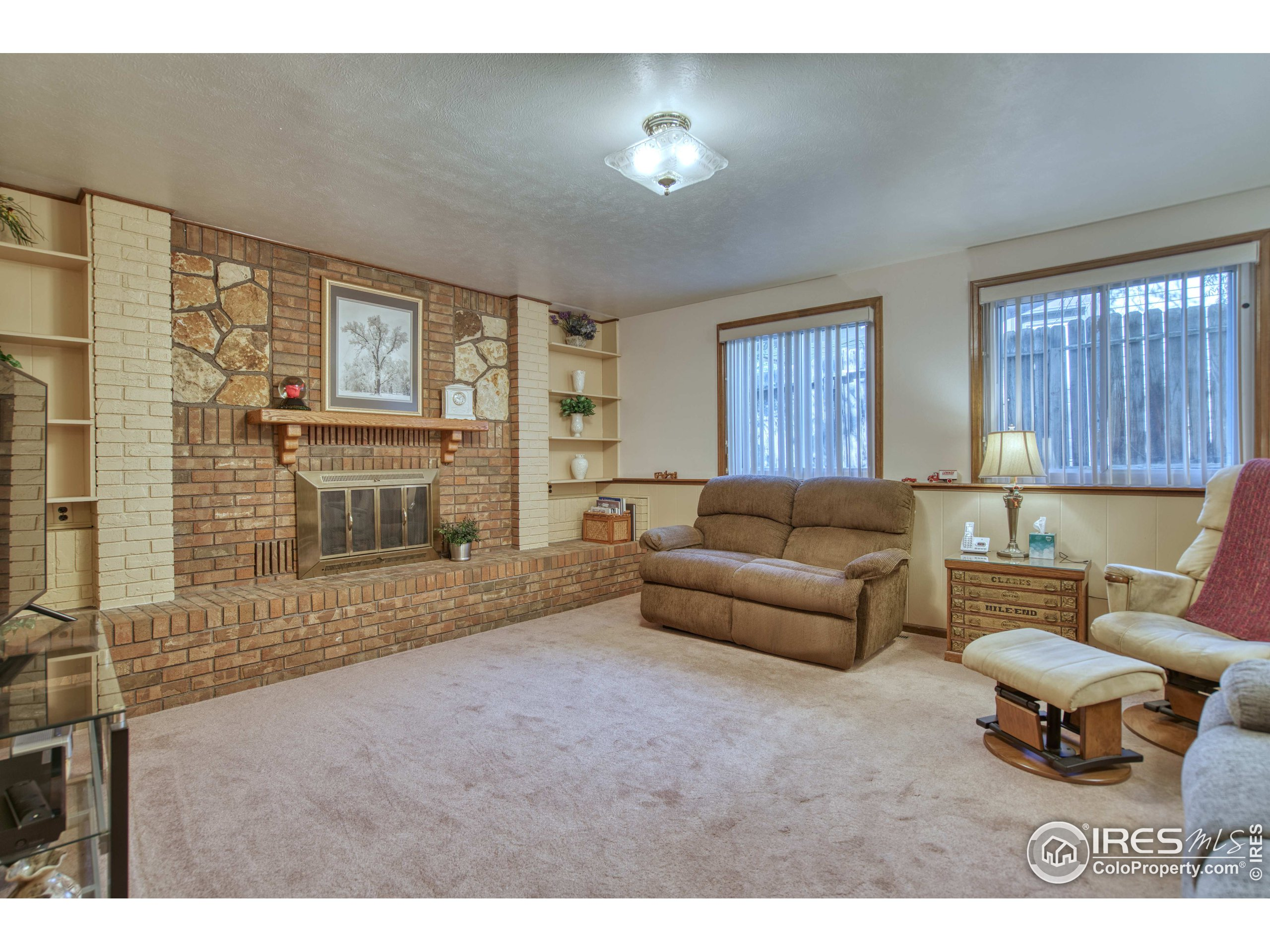 Family Room with Gas Fireplace & Built-in Shelves