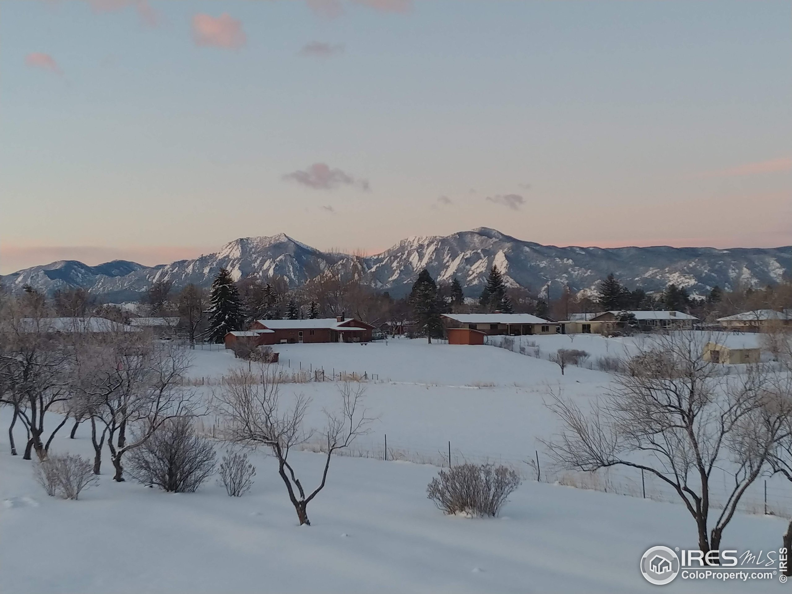 Early morning winter view of the Flatirons!