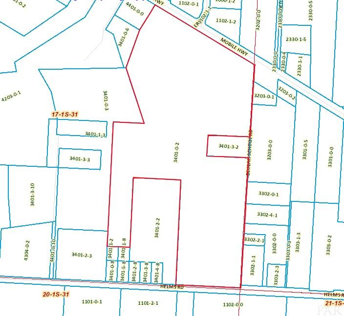 36.4 Acres of land with road frontage on 3 roads; Mobile Hwy, Beulah School Rd and Helms rd. There is currently 2 ponds on this property.