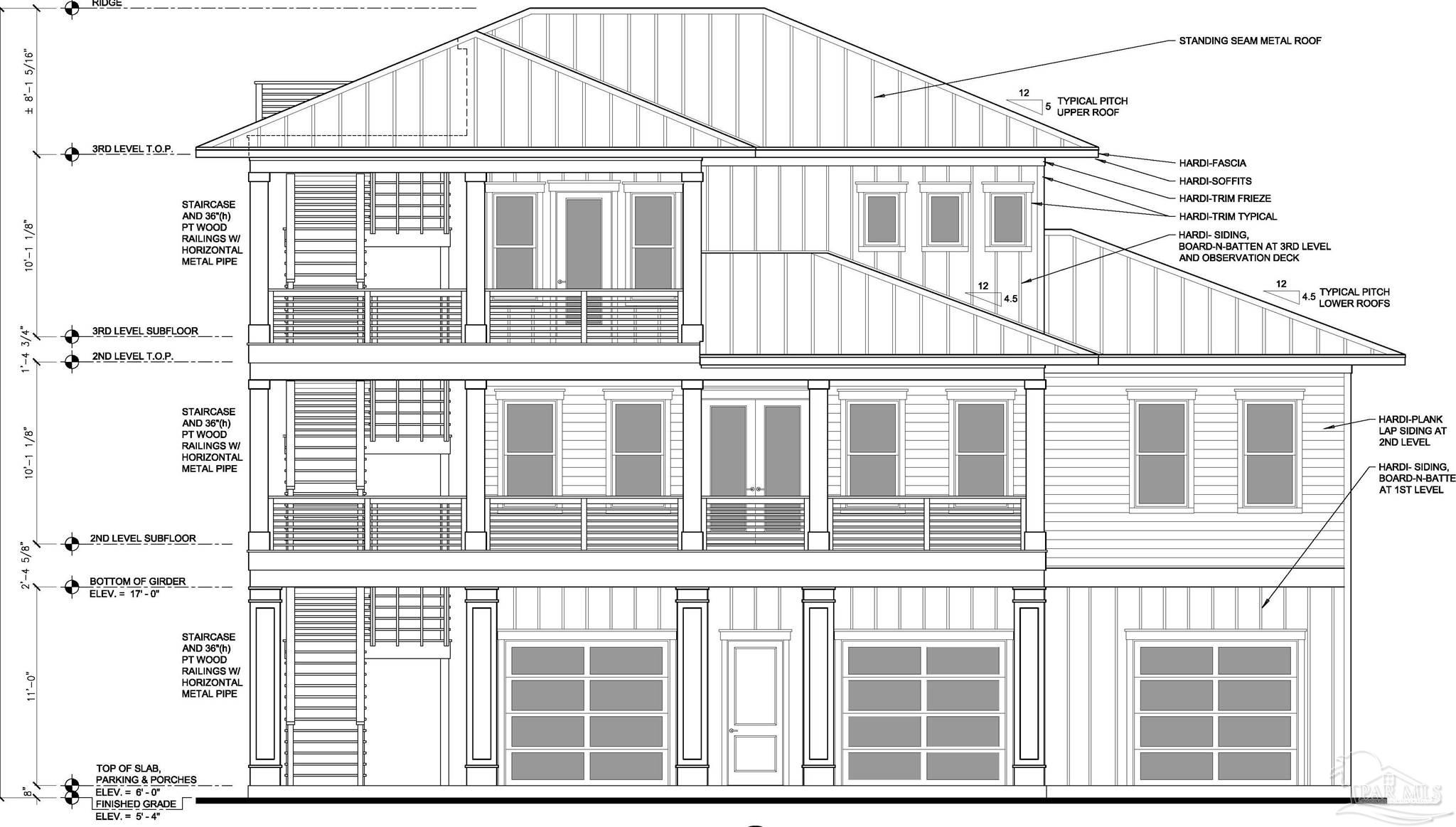 """Presenting Pensacola Beach's newest Custom Build Offering. Located in the 1300 block on the of Via Deluna, this large premium homesite is perfectly placed adjacent to a 15 ft walking easement that runs north & south from the public Gulf beach to the Sound which is owned & maintained by the Santa Rosa Island Authority. Its central beach placement is an easy stroll or bike ride to the epicenter of the Pensacola Beach hub where you'll find casual & fine dining restaurants, jet ski rentals, dolphin tours, fishing charters, para sailing, scuba charters, paddle board classes & more. Its Elite Caliber finishes are enveloped by highly efficient dollar saving home hardening construction materials & applications installed by the best craftsmen in the business. This extra attention to detail offers significant insurance, utility & maintenance savings with its low maintenance construction. Enhanced efficiency standards include: larger 14"""" pilings versus 12"""" installed to 20'ft piling ground depth versus 15'ft standard; built 17' ft above sea level 5 ft above the insurable base flood elevation of 12 ft; all stainless steel fasteners; structural soffits; go bolt threaded rod anchoring system; spray foam insulation; double pane low-e impact windows and doors; metal standing seam roof w peel & stick secondary ice & water shield & 100% genuine James Hardy exterior wall & trim materials & 230SF waterview rooftop observation deck. The enhanced floorplan includes 4 spacious brs & 3 &1/2bths w master suite at the 3rd level. The 2nd br has an onsuite & bdrms 3-4 are serviced by a jack & jill. The 3rd level master suite has a walkin closet & elevated Sound views from its covered balcony. The Master bath includes double vanity sink and custom multihead shower. Optional amenities at additional cost: elevator servicing all living levels; coffee bar w mini fridge & sink at the 3rd level; outdoor kitchen;  pool. Build timelines appx 8 mths via strategic construction planning & material orders."""